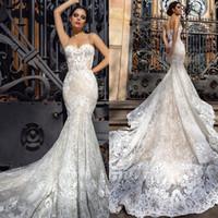 2018 sirena de la vendimia vestidos de novia espagueti escote apliques de encaje vestidos de boda barrido de longitud sin espalda vestido de novia