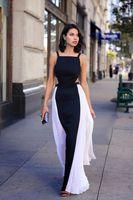 Nouvelle robe de bal noire et blanche de Celebrity Runway 2019 pour une occasion spéciale pour les filles de fée Satin élégantes, plus la taille des robes de soirée
