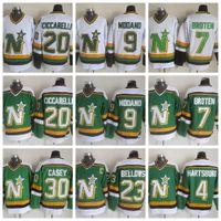 Vintage Minnesota Kuzey Yıldız Hokeyi Formalar 9 Mike Modano 20 Dino Ciccarelli 7 Neal Broten 23 Brian Körükler 4 Craig Hartsburg Jon Casey
