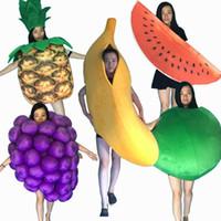 2018 varm försäljning professionell maskot kostym vuxen storlek banan druva vattenmelon ananas äpple frukt maskot kostym halloween jul