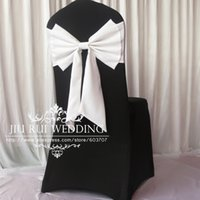 100 unids Colorful Polyester Lycra Self-Tie Bow Chair Band Butterfly Chair Band Silla Sash para la decoración de la boda