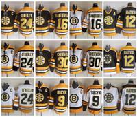 Vintage Boston Bruins Hokey Formaları 12 Adam Oates 9 Johnny Bucyk 16 Derek Sanderson 30 Gerry Cheers 24 Terry O'Reilly Vintage Jersey