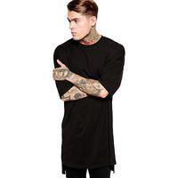 Cotone Streetwear Brand Abbigliamento T-shirt da uomo T-shirt Hip Hop Side Spalato T-Shirt Bianco Lunga Top Top Uomo Tees Tall BMTX03 f