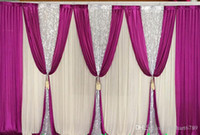 3M*6M backdrop with sequins swags wedding backcloth With Swa...