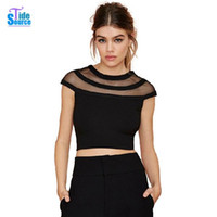 Wholesale-2016 Summer Style All-match T-shirt Sexy Short Sleeve O-Neck Solid Crop Top Fashion Mesh Patchwork Slim Fit T Shirt Tops Mulheres