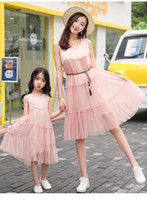 Mom Daughter Matching Dresses Chiffon Pink Tutu Skirt Sleeve...