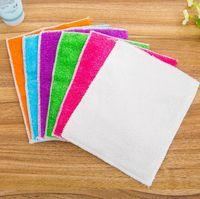 Hotsale 가정용 청소 도구 다채로운 다기능 비 스틱 오일 마법 대나무 섬유 청소 천 수건 접시 세척 닦는 패드