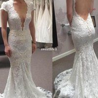 Berta Full Lace 2017 V Шея Русалка Свадебные платья Sexy Backless Sweep Train Boho REAL IMAGE Bridal Gown Custom Pearls