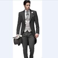 Custom Made Yeni Damat Smokin Tepe Yaka erkek Suit Sabah Tarzı Sağdıç / Damat Düğün / Balo Suits (Ceket + Pantolon + Kravat + Yelek) J828