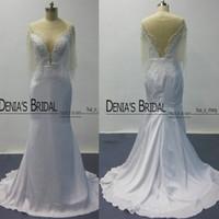 Сексуальная Sheer вечерние платья 2015 с бисером тюль Мыс низкий V-образным вырезом оболочки длиной до пола платья