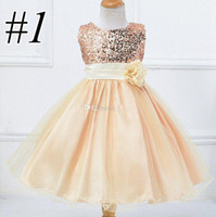 2017 INS Girls Party Princess Dress Cute Sequin Sleeveless V...