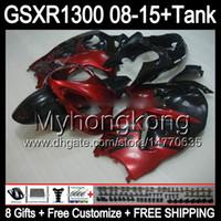 Glans Röd 8Gifts för Suzuki Hayabusa GSXR1300 08 15 GSXR-1300 14MY89 GSXR 1300 GSX R1300 08 09 10 11 12 13 14 15 Top Red Black Fairing Kit