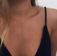 جرس قلادة Y القلائد على شكل سبائك الذهب والفضة مطلي قلادة بسيطة القلائد للمرأة مجوهرات اكسسوارات هدايا المختنقون
