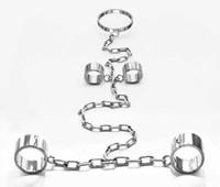 Nuovi polsini del polso del polso del colletto in acciaio inox siamese Catene per impieghi pesanti del cablaggio Bondage Gear Slave Adulto BDSM Set