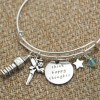 12 pezzi Peter Pan ispirato braccialetto Peter Pan Think Happy Thoughts cristalli per donne o ragazze braccialetti