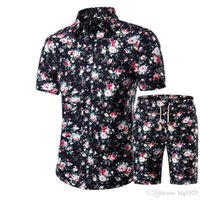 New Summer Men Shirts+ Shorts Set Casual Printed Hawaiian Shi...
