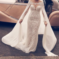 Elegante lange Ärmel Hochzeitskleid mit Wrap Sheer Jewel Halsausschnitt Spitze Applique Tüll Mermaid Brautkleider 2017 Stilvolle sexy Brautkleider