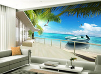Maldive Sea Beach Coconut Tree Visualizza murale carta da parati 3d carte da parati 3d per sfondo tv