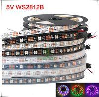 5m 60 LED / m WS2812B WS2812 PIXELs PCB blanc imperméable WS2811 IC 5050 RVB SMD Couleur numérique Flexible Strip Light 5V