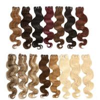100 extensões de cabelo humano onda do corpo trama de cabelo brasileiro # 1B preto # 18 Brown # 27 Loira Tecer Cabelo Humano Macio
