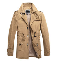 Vente en gros - Nouvelle mode Moyenne Trench Coat Hommes Slim mince Chaqueta Larga Hombre