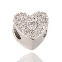 Фабрика Outlet очарование тонкой серебряной CZ проложить бусины большое отверстие бусины подходят Pandora Шарм ICPD039, 9.9*11.7 мм