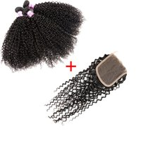 8A Peruvian Virgin Hair Kinky Curly With Closure Lace Closur...