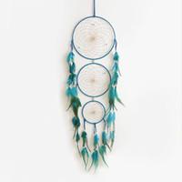Atrapasueños decoración tres círculos Atrapasueños coloridas plumas decoraciones de pared accesorios colgantes regalo romántico