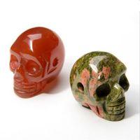 2017 Natural Stone Skull Pendant Pendant Collane uomo Donne Turchese Gemstone Agata Al Quarzo Pendenti di scheletro in cristallo con catena Colori misti