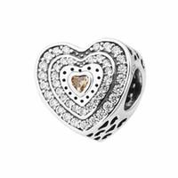 Heart Beads Charms Past voor DIY Sieraden Armbanden S925 Sterling Silve H7 Lavish Heart, Fancy-gekleurd