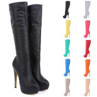 Boot Female Brand New Women High Heels Knee Wide Leg Stretch...