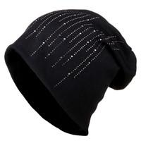 Femal Kış Bere Şapka Örme Caps Kadın Kız Skullies Şapka kadın Kış Şapka Için Yanıp Sönen Rhinestone Bonnet
