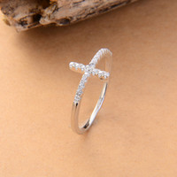 Trend Sideways Cross silver plated rings Fashion Jewelry fre...