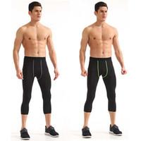 Erkek Spor Koşu Spor PRO Capri Pantolon Ter Terleme Çabuk kuruyan Sıkıştırma Elastik Spor Eğitim Sıkıştırma 3/4 Pantolon