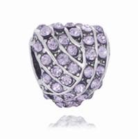 Fit Bracelets de chaîne Snake 10pcs Silver Multicolore Multicolore Diamond Heart Big Hole Charms Beads pour Wholesale DIY Collier européen Bijoux Accessoires