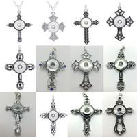10 Unids / lote Mix Style Cross Snap Charm Colgante Collar Intercambiable 18mm Ginger Snap Chunk Charm Jewelry Con cadena de cuentas de aleación