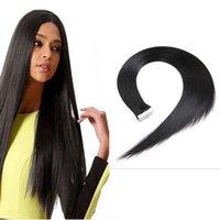 Оптовая бразильский прямая лента в наращивание волос 8A бразильский Виргинские волосы 20 шт. PU кожи уток необработанные человеческие волосы плетет клубок бесплатно
