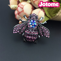 Pink & Purple Vintage Style Bumble bee Pin Brooch