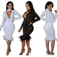 Bayanlar Için seksi Elbise V Yaka Elbise Amerikan Tarzı Moda Sonbahar Fittness Kulübü Parti Pul Beyaz Tüy Elbise S-XL Ücretsiz Kargo