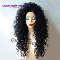 Cosplay peruk Siyah peruk. Uzun kıvırcık Sentetik siyah saç peruk. Drag Queen. Ünlü saç Cosplay peruk