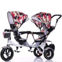 Atacado- Double Stroller Criança Bike Stroller Dupla Assentos Bebê Triciclo para Gêmeos Bicicleta Dobrável Três Rodas Gêmeos Triciclo Circhoas