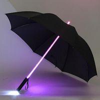 Wholesale- 7 Color LED Lightsaber Light Up Umbrella Laser sword Light up Golf Umbrellas Changing On the Shaft/Built in Torch Flash Umbrella
