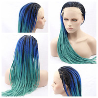 Sexy African Braiding Hair Wigs Ombre Glue Green Braided Wig...