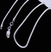 925 Ayar Gümüş Kaplama Yılan Zincir Kolye Kadın Istakoz Klipsler Pürüzsüz Zincir Bildirimi Takı Yapımı Boyutu 1mm 16 18 20 22 24 inç
