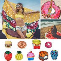 الصيف الفواكه الشاطئ منشفة 18 أنماط البيتزا همبرغر دونات الجمجمة الآيس كريم الفراولة البوليستر جولة شاطئ دش منشفة OOA2266