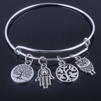 Brand Silver Bracelets Bangle With Love Anchor & Life Trees ...