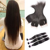 8A Brazilian Virgin Hair Straight With Closure Brazilian Vir...