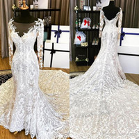 Long Sleeve Arabic Mermaid Wedding Dresses Full Lace Appliqu...