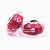 Nouveau bijoux Rose rouge amour CZ Murano Perles En Verre Fit Européenne DIY pandora Charme Bracelets Collier ZS340