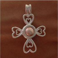 925 Серебряный жемчуг Кейдж медальон подвеска, стерлингового серебра крест сердце четыре листа клевера стиль любовь Шарм для браслет ожерелье ювелирные изделия